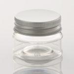 elegante vaso in PET trasparente da 25ml con tappo a vite in alluminio argento