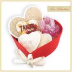 Cesto di San Valentino a forma di cuore, 100% artigianale, made in Italy
