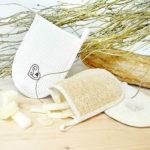 spugna portasapone in luffa e cotone