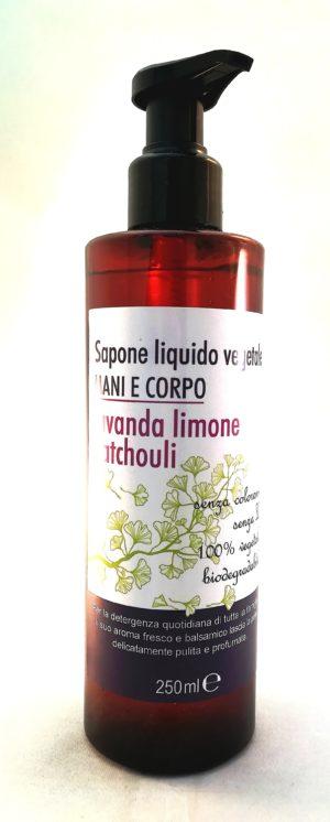 sapone liquido vegetale lavanda limone patchouli