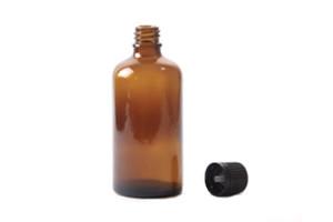 boccetta ambra 100ml tappo contagocce nero con sigillo di garanzia